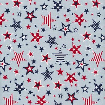 American Style 5493-11 Large Stars Light Blue by Studio E Fabrics