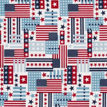 American Style 5494-78 Flag Collage Patriotic by Studio E Fabrics