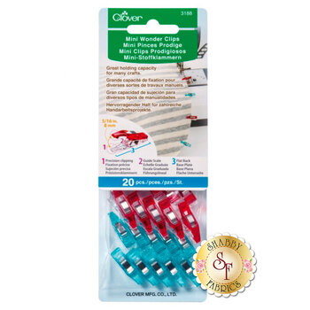 Clover Mini Wonder Clips - Red and Blue 20ct