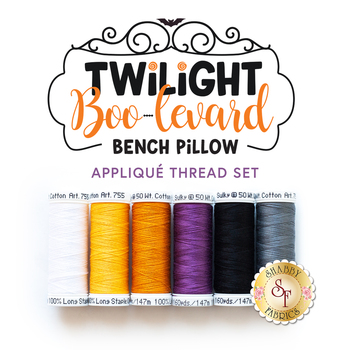 Twilight Boo-levard Bench Pillow - 6pc Applique Thread Set for Sewing Version
