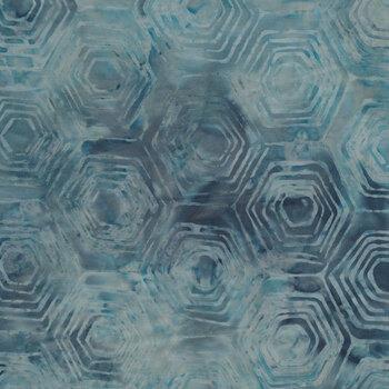 Baker's Dozens Batiks 8597-B1 Marled Blue Hexi by Edyta Sitar for Andover Fabrics