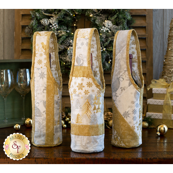 Quilt As You Go Wine Totes Kit - Holiday Village