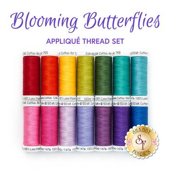 Blooming Butterflies Quilt Kit - 14pc Appliqué Thread Set