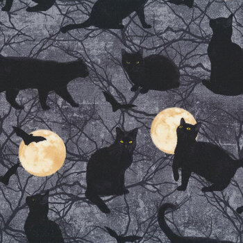 Black Cat Capers 24119-98 Dark Night by Northcott Fabrics