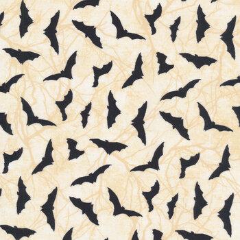 Black Cat Capers 24121-12 Cream Bats by Northcott Fabrics