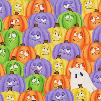 Glow Ghosts (Glow in the Dark) 9601G-35 Multi Stacked Pumpkins and Ghosts by Henry Glass Fabrics