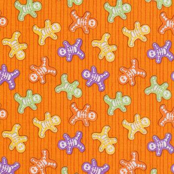 Glow Ghosts (Glow in the Dark) 9602G-33 Orange Skeleton Bones by Henry Glass Fabrics