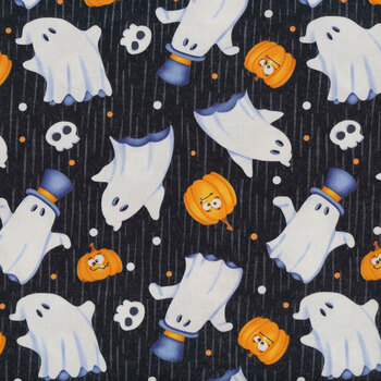 Glow Ghosts (Glow in the Dark) 9605G-99 Black Tossed Ghosts by Henry Glass Fabrics