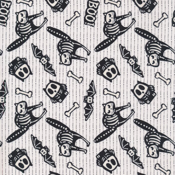 Glow Ghosts (Glow in the Dark) 9606G-9 Blk/White Tossed Bones of Motifs by Henry Glass Fabrics