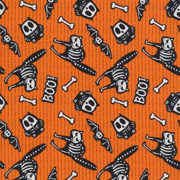 Glow Ghosts (Glow in the Dark) 9606G-33 Orange Tossed Bones of Motifs by Henry Glass Fabrics