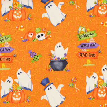 Glow Ghosts (Glow in the Dark) 9607G-33 Orange Tossed Ghosts, Pumpkins and Candy by Henry Glass Fabrics
