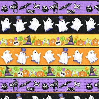 Glow Ghosts (Glow in the Dark) 9608G-35 Multi Novelty Glow Stripe by Henry Glass Fabrics