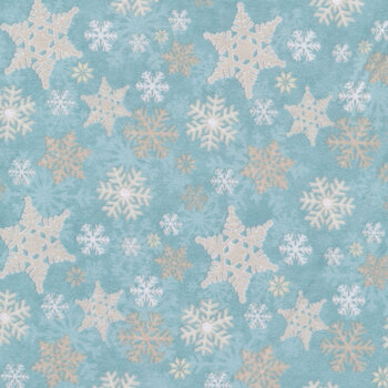 I Love Sn'Gnomies Flannel F9636-11 Aqua Snowflake Allover by Shelly Comiskey for Henry Glass Fabrics