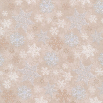 I Love Sn'Gnomies Flannel F9636-33 Beige Snowflake Allover by Shelly Comiskey for Henry Glass Fabrics