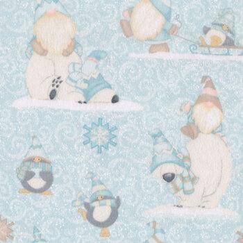 I Love Sn'Gnomies Flannel F9637-11 Aqua Polar Bear/Gnome Allover by Shelly Comiskey for Henry Glass Fabrics