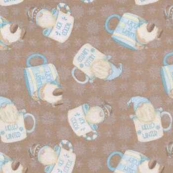 I Love Sn'Gnomies Flannel F9640-33 Brown Hot Cocoa Cup Gnome by Shelly Comiskey for Henry Glass Fabrics