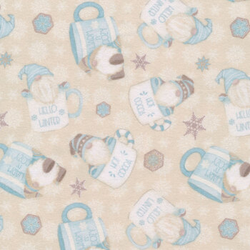 I Love Sn'Gnomies Flannel F9640-44 Cream Hot Cocoa Cup Gnome by Shelly Comiskey for Henry Glass Fabrics
