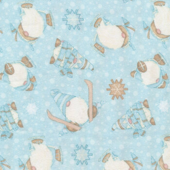 I Love Sn'Gnomies Flannel F9641-11 Aqua Skiing Gnomes by Shelly Comiskey for Henry Glass Fabrics