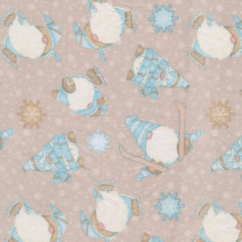 I Love Sn'Gnomies Flannel F9641-33 Beige Skiing Gnomes by Shelly Comiskey for Henry Glass Fabrics
