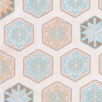 I Love Sn'Gnomies Flannel F9642-13 Multi Hexi Snowflakes by Shelly Comiskey for Henry Glass Fabrics