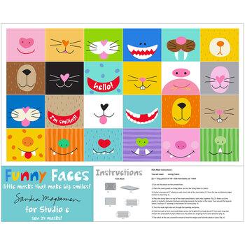 Funny Faces 5735P-01 Multi Face Mask Panel by Studio E Fabrics