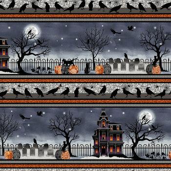 Spooky Night 5727-93 Black/Orange Spooky Night Border by Grace Popp for Studio E Fabrics