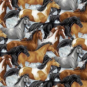 Horse Whisperer 5677-39 Multi Running Horses by Studio E