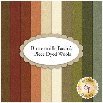 """Buttermilk Basin's Piece Dyed Wools  9 """"x 13"""" Set by Buttermilk Basin for Henry Glass Fabrics"""