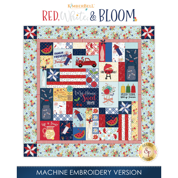 Red, White, & Bloom Quilt Kit - Machine Embroidery Version