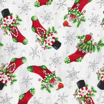 All That Glitters Is Snow 1512-88 Red Snowman Christmas Stocking by Blank Quilting Corporation