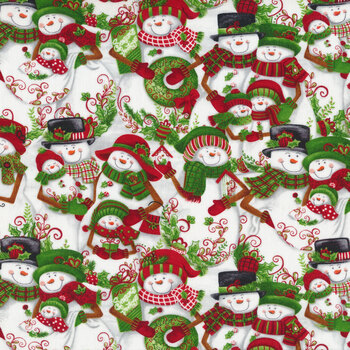 All That Glitters Is Snow 1513-01 White Packed Snowmen by Blank Quilting Corporation