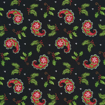 All That Glitters Is Snow 1516-99 Black Christmas Paisley by Blank Quilting Corporation