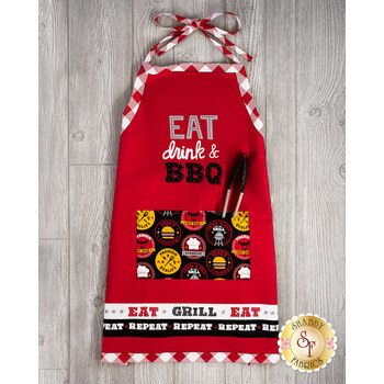 Peace, Love & BBQ 9513P-88 Red/White Apron Panel by Emily Dumas for Henry Glass Fabrics