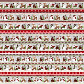 Snow Merry 5696-98 Border Stripe by Studio E Fabrics