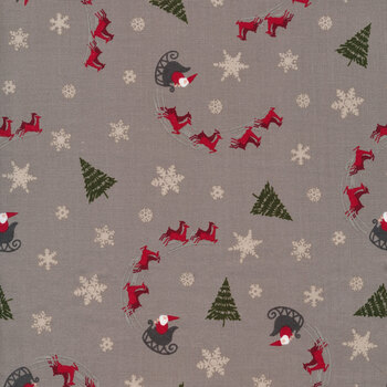 Christmas at Buttermilk Acres C10902-GRAY Sleigh Gray by Riley Blake Designs
